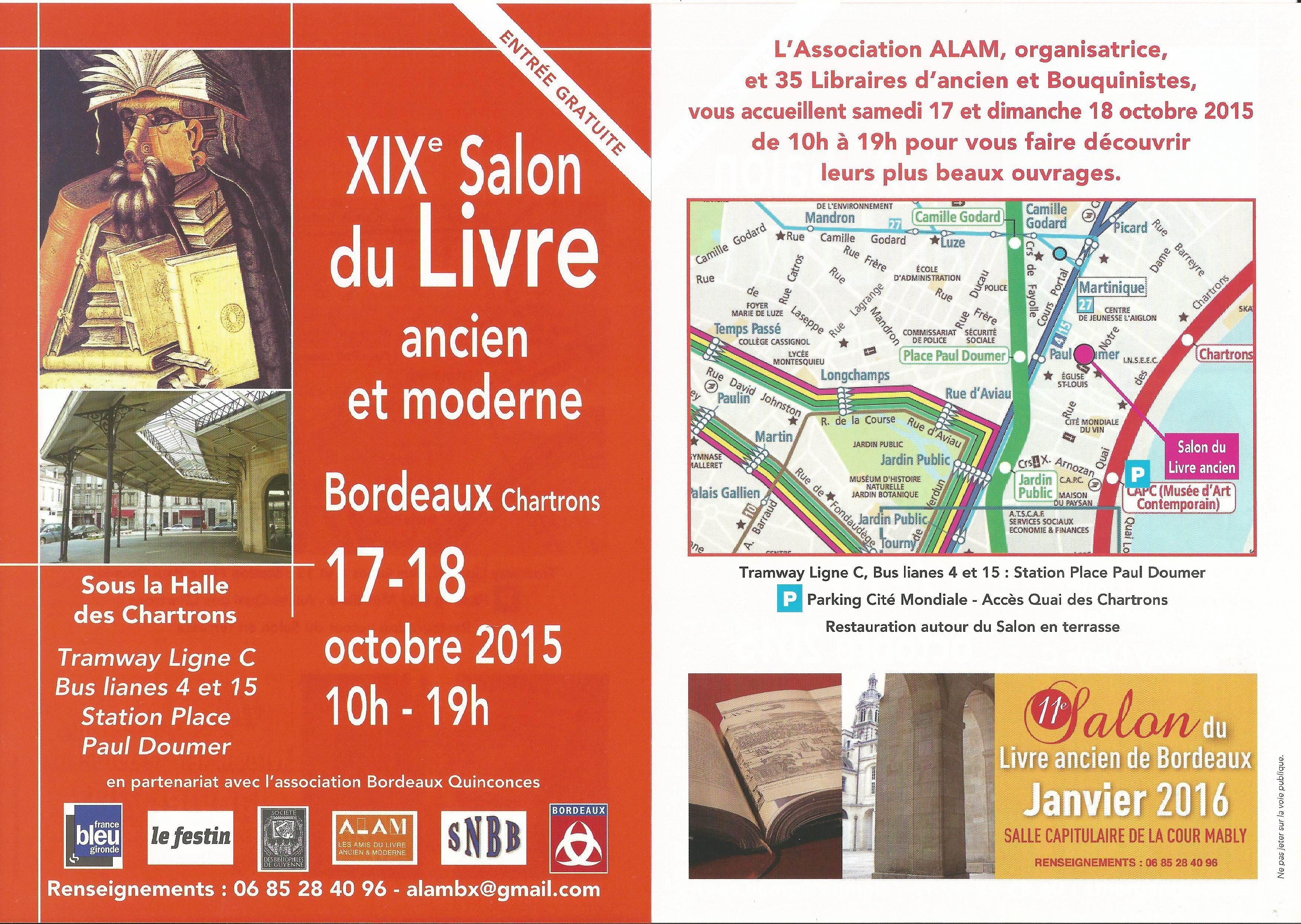 Invitation xixe salon du livre ancien et moderne de bordeaux 17 18 octobre 2015 librairie - Invitation salon du livre ...